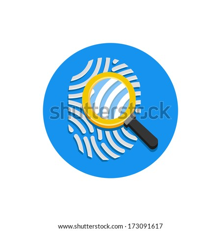 Vector Fingerprint and Magnifying Glass Icon - stock vector