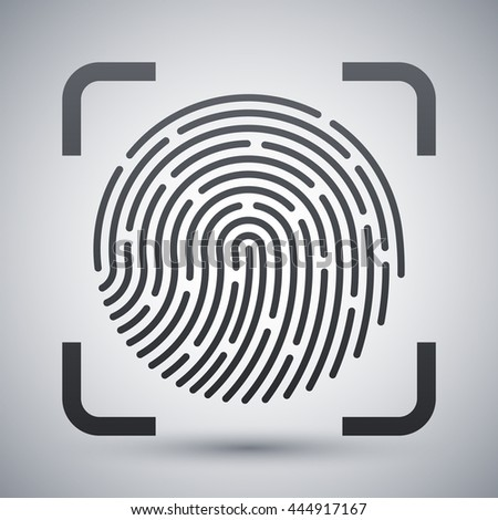 Vector Fingerprint Scanning icon. Fingerprint Scanning simple icon on a light gray background - stock vector