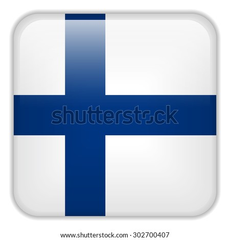 Vector - Finland Flag Smartphone Application Square Buttons - stock vector