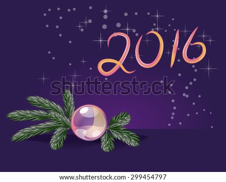 Vector Fir Branch and Glass Decoration on a dark blue background with sparkles and Glossy Hand drawn 2016 - stock vector