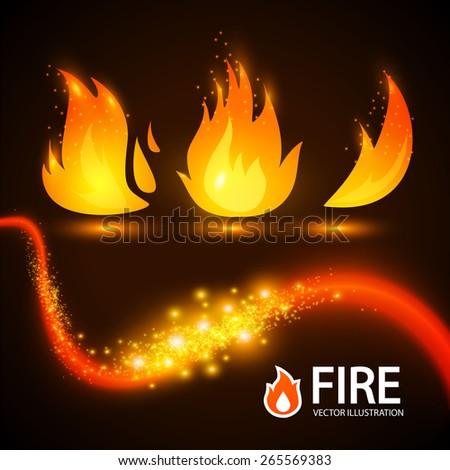 Vector fire elements set. - stock vector