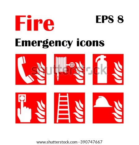 Vector fire emergency icons. Signs of evacuations. Fire emergency exit in red. Emergency fire symbols for evacuation plans. - stock vector