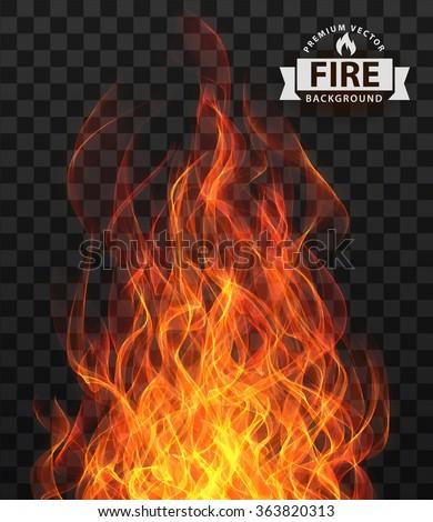 Vector fire flame frame border - stock vector