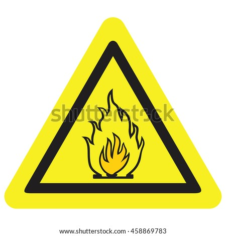 Vector fire warning sign - stock vector