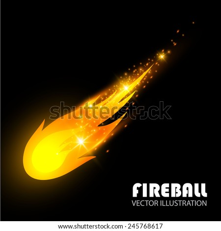 Vector fireball on black background - stock vector