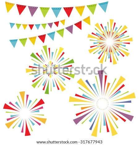 Vector fireworks and garlands - stock vector
