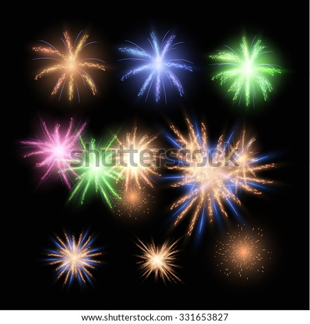 Vector fireworks collection. Single and groups, can be used for holiday christmas and happy new year background, greeting cards, presentations and web banners. Vector eps10. - stock vector
