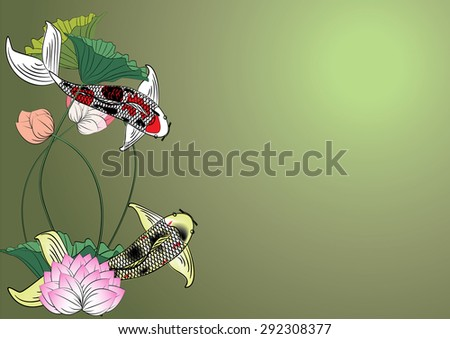 Vector fish and lotus flowers for the background - stock vector