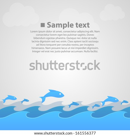 Vector fish in the sea on the background - stock vector