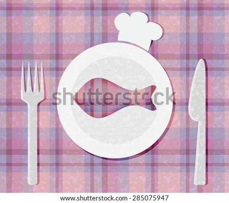 Vector fish on porcelain plate - stock vector