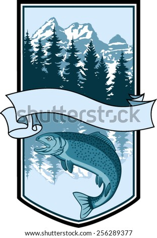 Vector fishing emblem label with salmon fish - stock vector