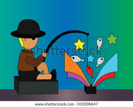 Vector - Fishing.He was fishing in the black box. - stock vector