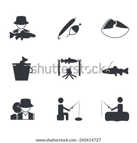 Vector fishing icons set: fish on a hook, float and spoon-bait, fisherman with big fish, guide, river-mountain, fish in a bucket, fish on the fire, ice fishing, fishing from a boat - stock vector