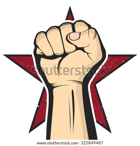 Vector fist on red star background embodying protest, revolution and aggression. - stock vector