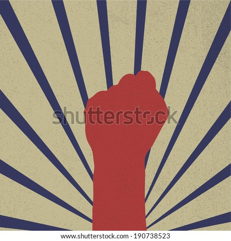 vector fist raising retro design - stock vector