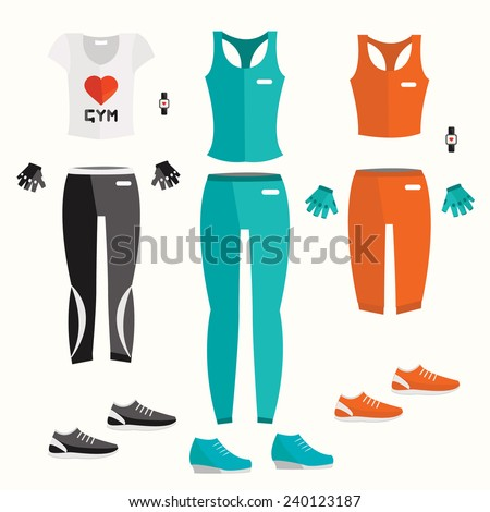 Vector fitness clothes. Fitness elements. Vector fitness set. Fitness woman set. Vector flat design of fitness. Fitness details. Fitness woman. Fitness equipments. Fitness graphic. - stock vector