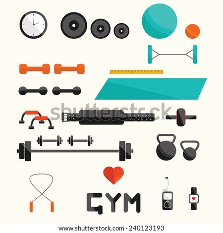 Vector fitness equipment. Fitness elements. Vector fitness set. Fitness woman set. Vector flat design of fitness. Fitness details. Fitness woman. Fitness equipments. Fitness graphic. - stock vector