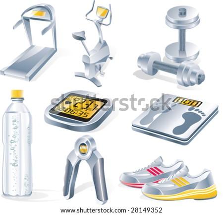 Vector fitness equipment icon set - stock vector