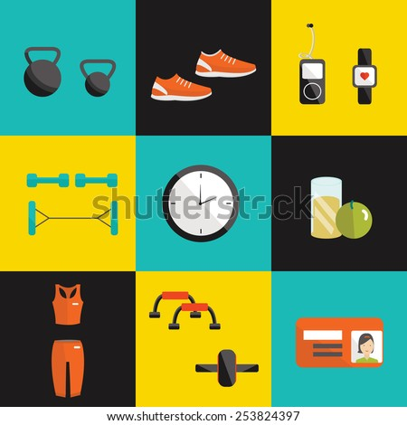 Vector fitness flat icon. Fitness elements. Vector fitness set. Fitness woman set. Vector flat design of fitness. Fitness details. Fitness woman. Fitness equipments. Fitness graphic. - stock vector