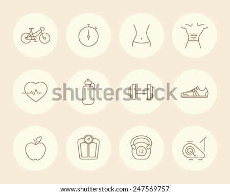 Vector Fitness, Workout Icons - stock vector