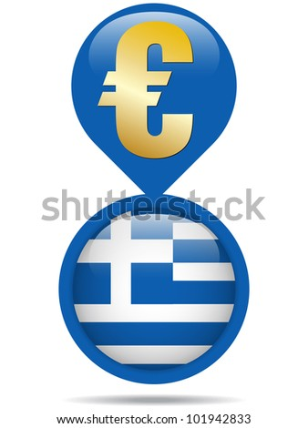 Vector - Flag Button Greece Euro Crisis - stock vector