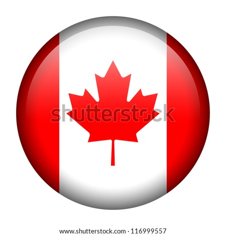 Vector flag button series - Canada - stock vector