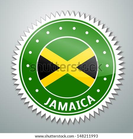 Vector flag label series - Jamaica - stock vector