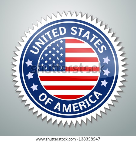Vector flag label series - United States of America (USA) - stock vector