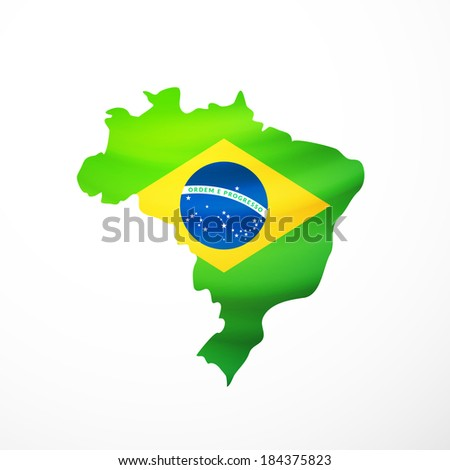 Vector flag maps of Brazil, with waving flag isolated on white - stock vector