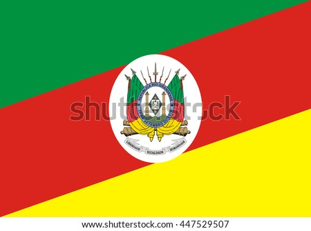 Vector flag of Rio Grande do Sul state in Brazil. Original and simple Rio Grande do Sul flag isolated vector in official colors and proportion correctly. - stock vector
