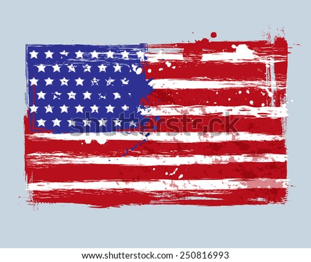 Vector flag of the United States of America. Illustration in grange style with brush strokes and paint splashes.  - stock vector