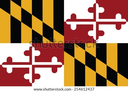 Vector flag of the United States of America State Maryland. Maryland original and simple flag isolated vector in official colors and Proportion Correctly.  - stock vector