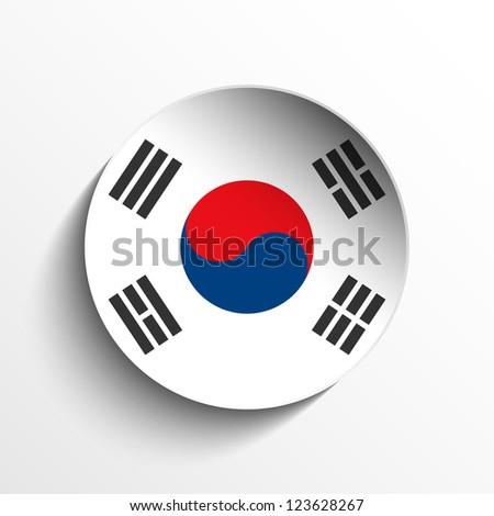 Vector - Flag Paper Circle Shadow Button South Korea - stock vector