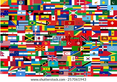 vector flags of all countries in one illustration - stock vector