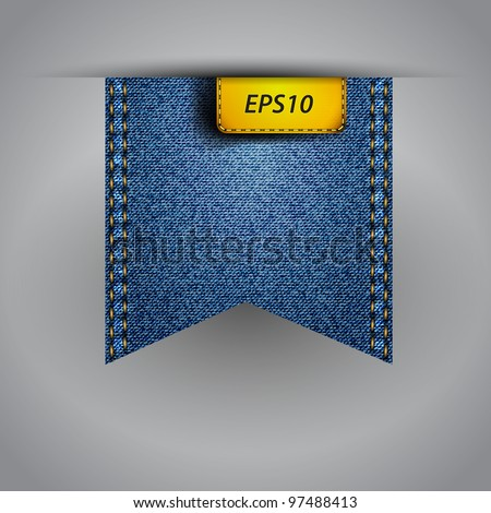 Vector flap jean blue fabric - stock vector