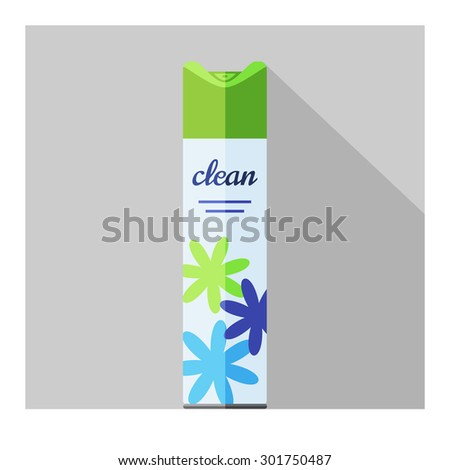 Vector flat air freshener aerosol bottle. Flower fresh - stock vector