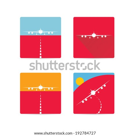 vector flat airplane icon set. vector airplane symbol collection - stock vector