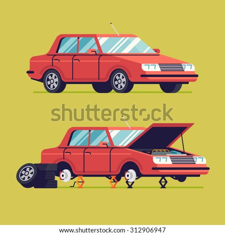 Vector flat auto service illustration with sedan car standing on jacks without wheels and opened hood | Car service web icon with car in two stages | Tire changing or braking system fix process - stock vector