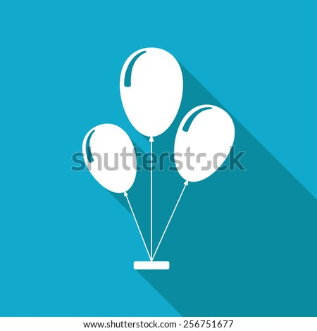 Vector flat balloons icon isolated on blue background. Eps10 - stock vector