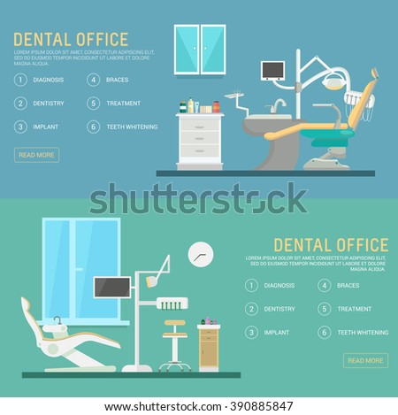 Vector flat banners dental office with seat and equipment tools. Medical arm-chair illustration. Colorful template for you design, web and mobile applications - stock vector