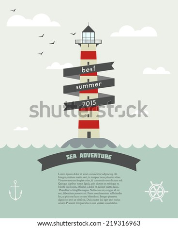 Vector Flat Beacon.Sea Adventure - stock vector