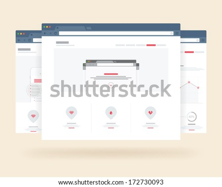 vector flat browser design with responsive website template - stock vector