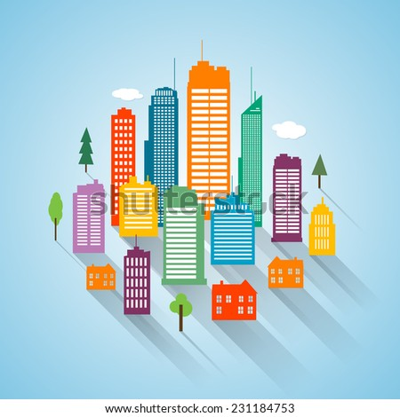 Vector flat building design cityscape background - stock vector