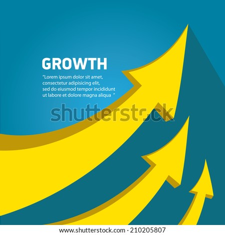 vector flat Business graph and chart on blue background.vector golden grow up arrow - stock vector