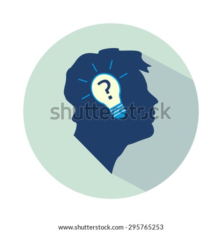 Vector flat business idea design - head with bulb and question mark. - stock vector
