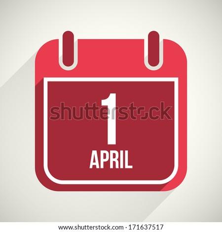 Vector flat calendar apps icon. 1 april fool's day - stock vector