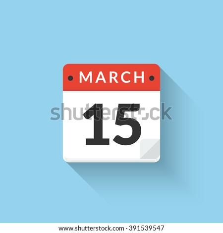 Vector Flat Calendar Icon design. Business calendar icon. Calendar icon concept. Calendar icon at 15 march date - stock vector