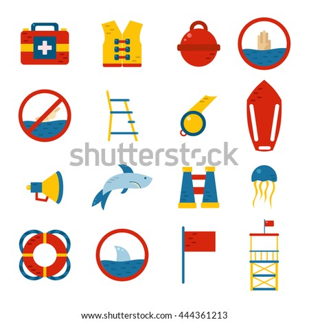 Vector flat cartoon beach lifeguard beach objects: buoy, shark, medusa, lifebuoy, life vest, whistle. Vector lifeguard icons. Emergence, survival, security beach nautical objects. Summer icons - stock vector