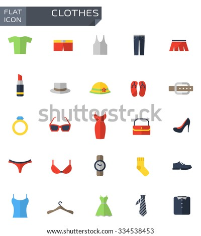 Vector flat clothes icons set. - stock vector
