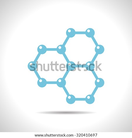 Vector flat color graphene icon  on white background . Science illustration  - stock vector